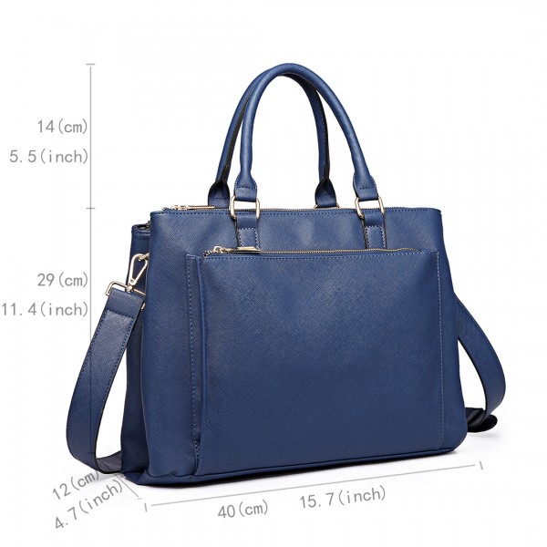 L1438 - Miss Lulu Grained Texture Leather Look Work Satchel Navy