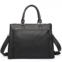 L1438 - Panna Lulu grained Texture Leather Look Work Satchel Black