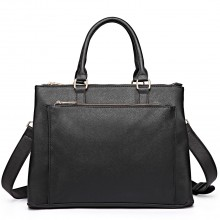 L1438 - Miss Lulu Grained Texture Leather Look Work Satchel Black