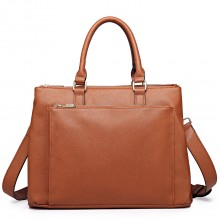 L1438 - Miss Lulu Grained Texture Leather Look Work Satchel Brown