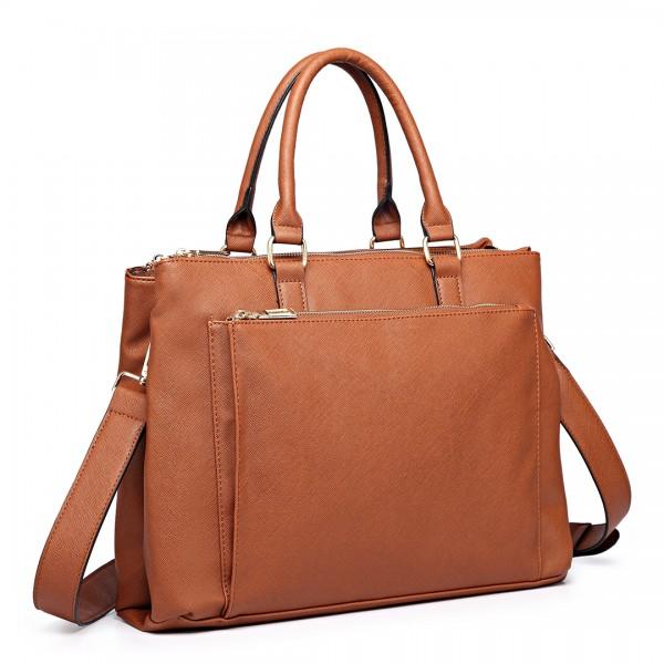 L1438 - Miss Lulu Grained Texture Leather Look Work Satchel Brown