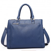 L1438 - Panna Lulu grained Texture Leather Look Work Satchel Navy