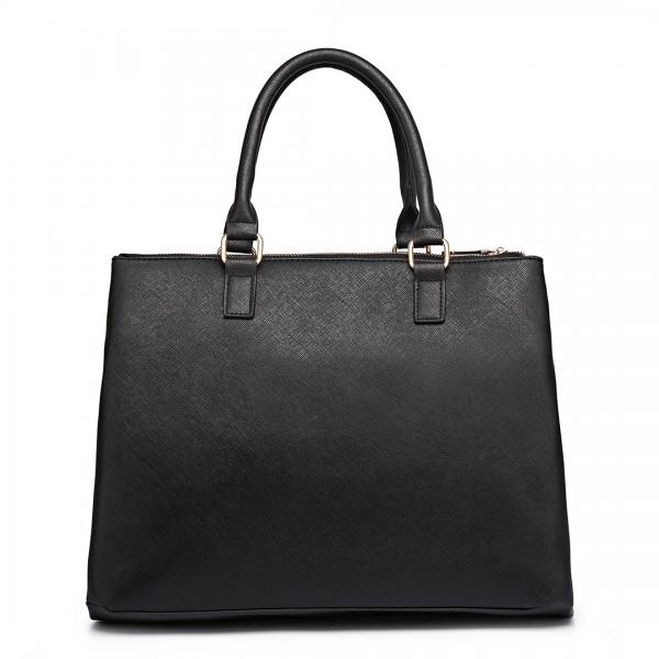 L1438 - Miss Lulu Grained Texture Leather Look Work Satchel Black