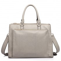 L1438 - Panna Lulu grained Texture Leather Look Work Satchel Grey