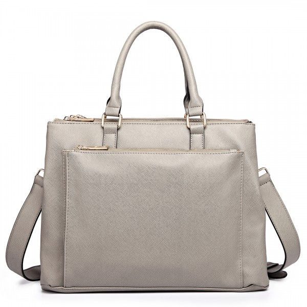 L1438 - Miss Lulu Grained Texture Leather Look Work Satchel Grey