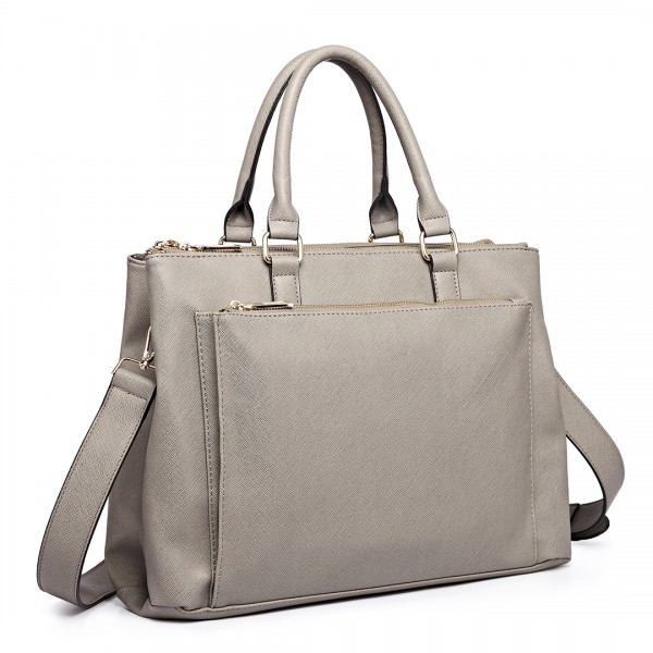L1438 - Miss Lulu Grained Texture Leather Look Work Satchel Grey