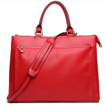L1438 - Miss Lulu Grained Texture Leather Look Work Satchel Dark Red