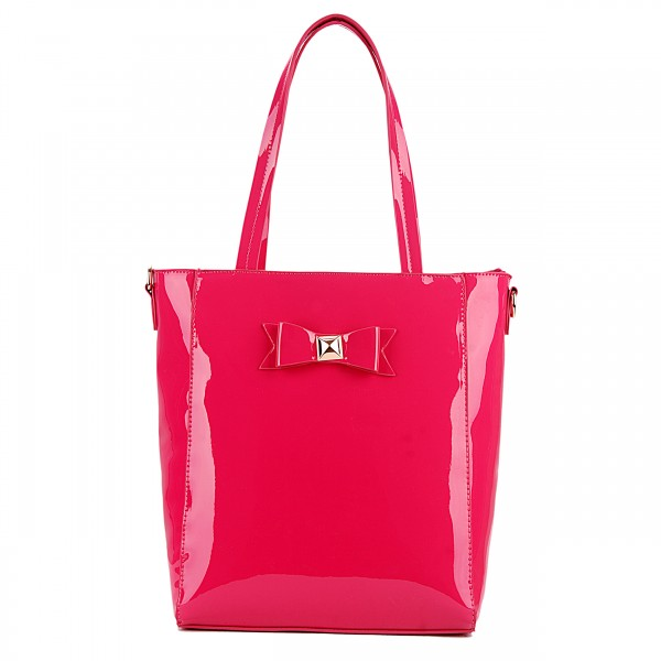 L1439 - Miss Lulu PVC Bow Shoulder Tote Bag Plum
