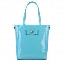 L1439 - Miss Lulu PVC Bow Shoulder Tote Bag Blue