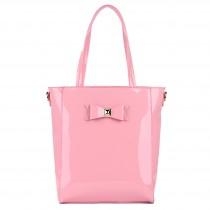 L1439 - Miss Lulu PVC Bow Shoulder Tote Bag Pink