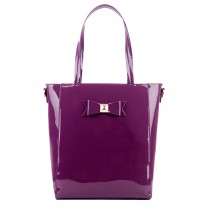 L1439 - Miss Lulu PVC Bow Shoulder Tote Bag Purple