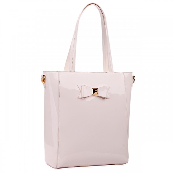 L1439 - Miss Lulu PVC Bow Shoulder Tote Bag Beige