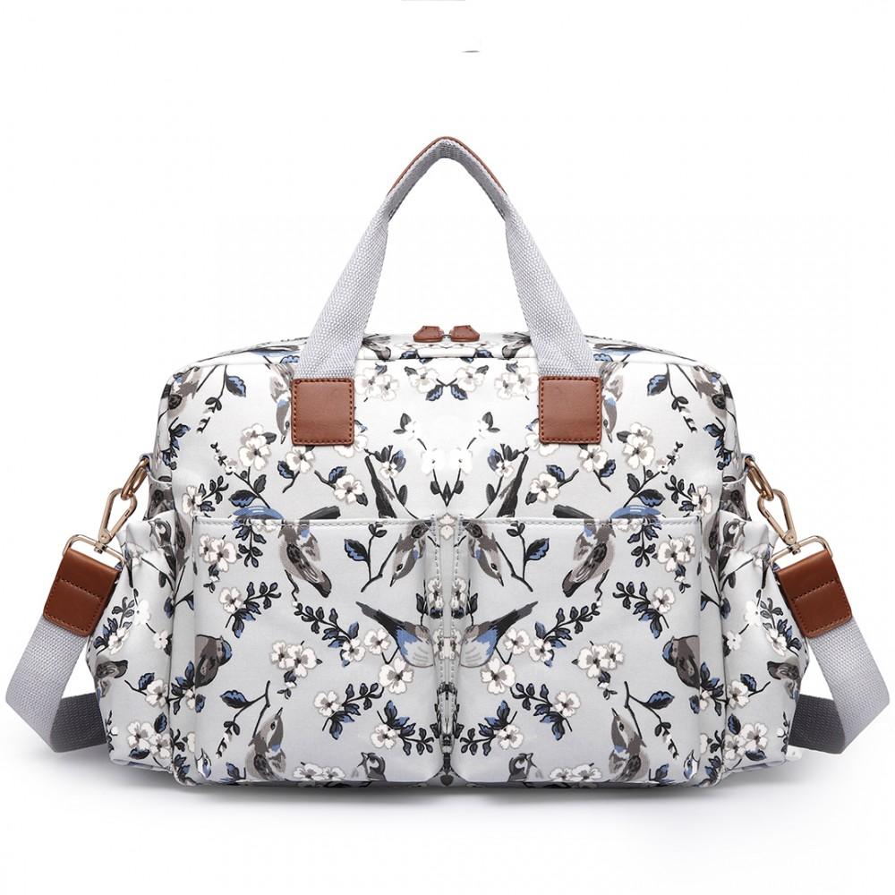 21684e91138e4 L1501-16J - Miss Lulu Maternity Baby Changing Bag Bird Print Grey