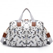 L1501-16J - Miss Lulu Maternity Baby Changing Bag Bird Print Grey