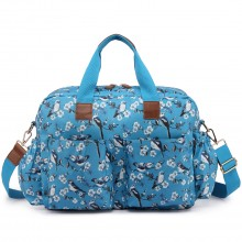L1501-16J - Miss Lulu Maternity Baby Changing Bag Bird Print Blue