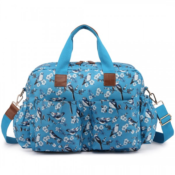 L1501-16J - Miss Lulu Maternity Baby Changing Bag Bird Print Blue