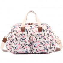 L1501-16J - Miss Lulu Maternity Baby Changing Bag Bird Print Beige