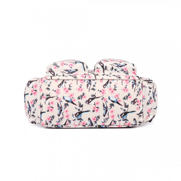 L1501-16J - Miss Lulu Maternity Baby Changing Bag Bird Print Beige