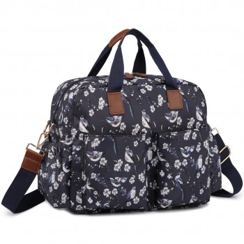 L1501-16J - Miss Lulu Maternity Baby Changing Bag Bird Print Navy
