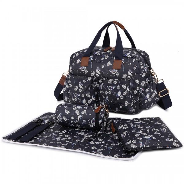 L1501-16J - Miss Lulu Maternity Baby Changing Bag Bird Print Navy
