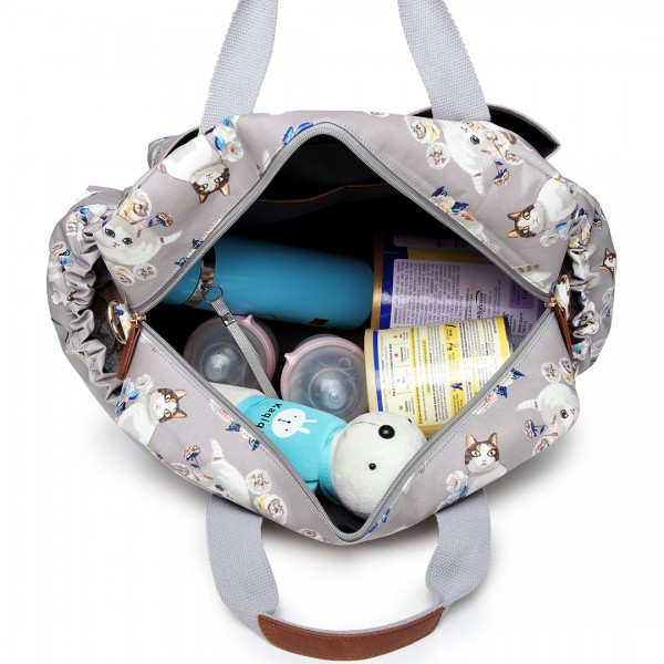 L1501-17CT GY - Miss Lulu Maternity Baby Changing Bag Cat Print Grey