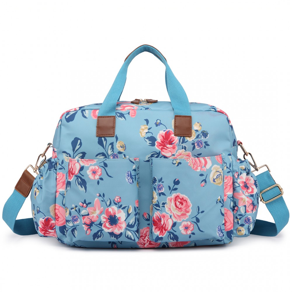 L1501-17F - Miss Lulu Maternity Baby Changing Bag Flower Print Blue