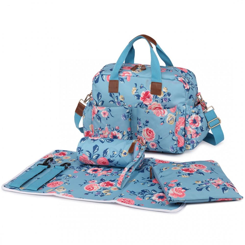 l1501 17f miss lulu sac de maternit fleur imprimer bleu. Black Bedroom Furniture Sets. Home Design Ideas