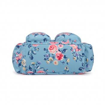 L1501-17F - Miss Lulu Maternity Baby Changing Bag Flower Print Blue