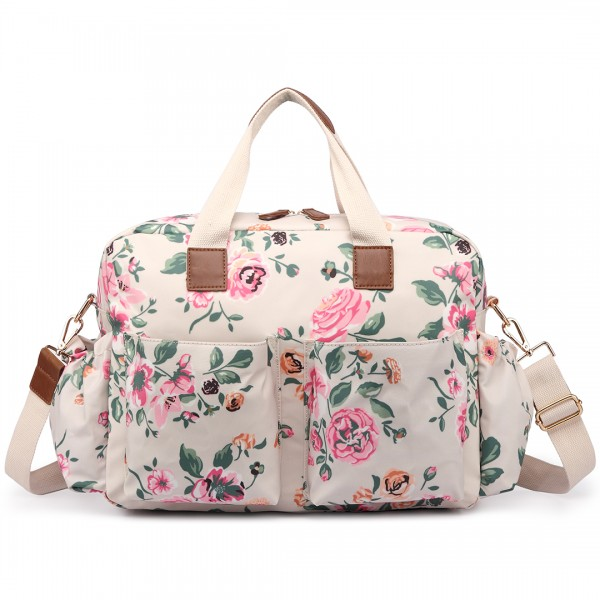 L1501-17F - Miss Lulu Maternity Baby Changing Bag Flower Print Beige