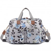 L1501-17F - Miss Lulu Maternity Baby Changing Bag Flower Print Grey