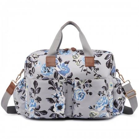 L1501-17F - Miss Lulu Maternity Baby Changing Bag Flower Print Grey