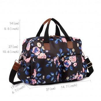 L1501-17F - Miss Lulu Maternity Baby Changing Bag Flower Print Midnight Navy