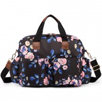 L1501-17F - Miss Lulu Maternity Baby Changing Bag Flower Print Midnight Blue