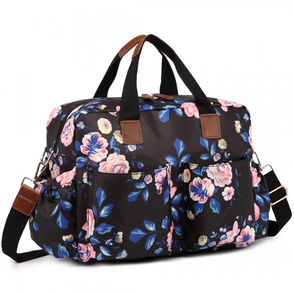 L1501-17F - Miss Lulu Maternity Baby Changing Bag Flower Print Midnight Navy