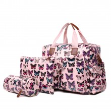 L1501B - Miss Lulu Maternity Baby Changing Bag Butterfly Pink