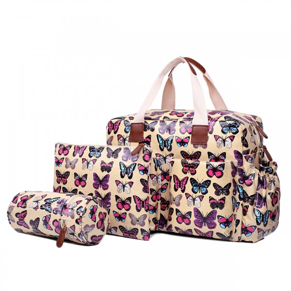 L1501B - Miss Lulu Maternity Baby Changing Bag Butterfly Beige