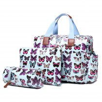 L1501B - Miss Lulu Maternity Baby Changing Bag Butterfly Blue