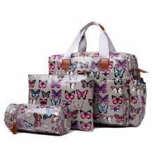 L1501B - Miss Lulu Maternity Baby Changing Bag Butterfly Grey