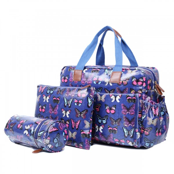 L1501B - Miss Lulu Maternity Baby Changing Bag Butterfly Navy