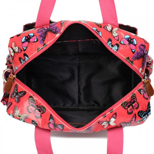 L1501B - Miss Lulu Maternity Baby Changing Bag Butterfly Plum