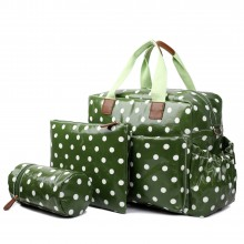 L1501D2 - Miss Lulu Maternity Baby Changing Bag Polka Dot Green