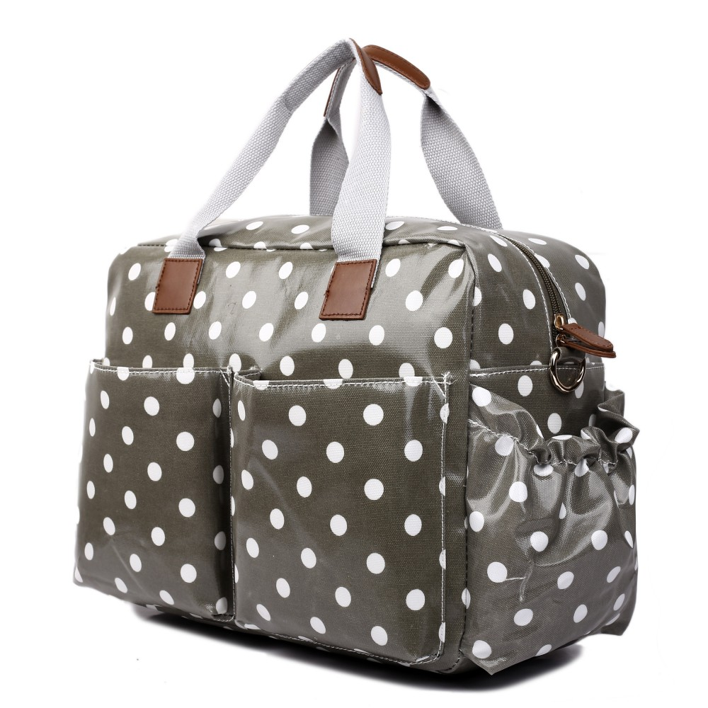 L1501d2 Miss Lulu Maternity Baby Changing Bag Polka Dot Grey