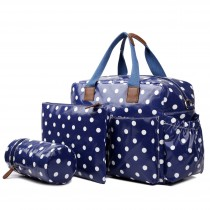 L1501D2 - Miss Lulu Maternity Baby Changing Bag Polka Dot Navy