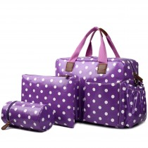 L1501D2 - Miss Lulu Maternity Baby Changing Bag Polka Dot Purple