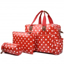 L1501D2 - Miss Lulu Maternity Baby Changing Bag Polka Dot Red