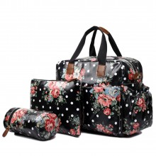L1501F - Miss Lulu Maternity Baby Changing Bag Flower Polka Dot Black