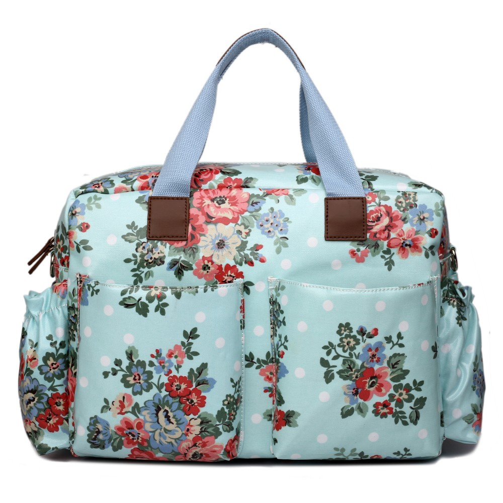L1501F - Miss Lulu Maternity Baby Changing Bag Flower Polka Dot Light Blue