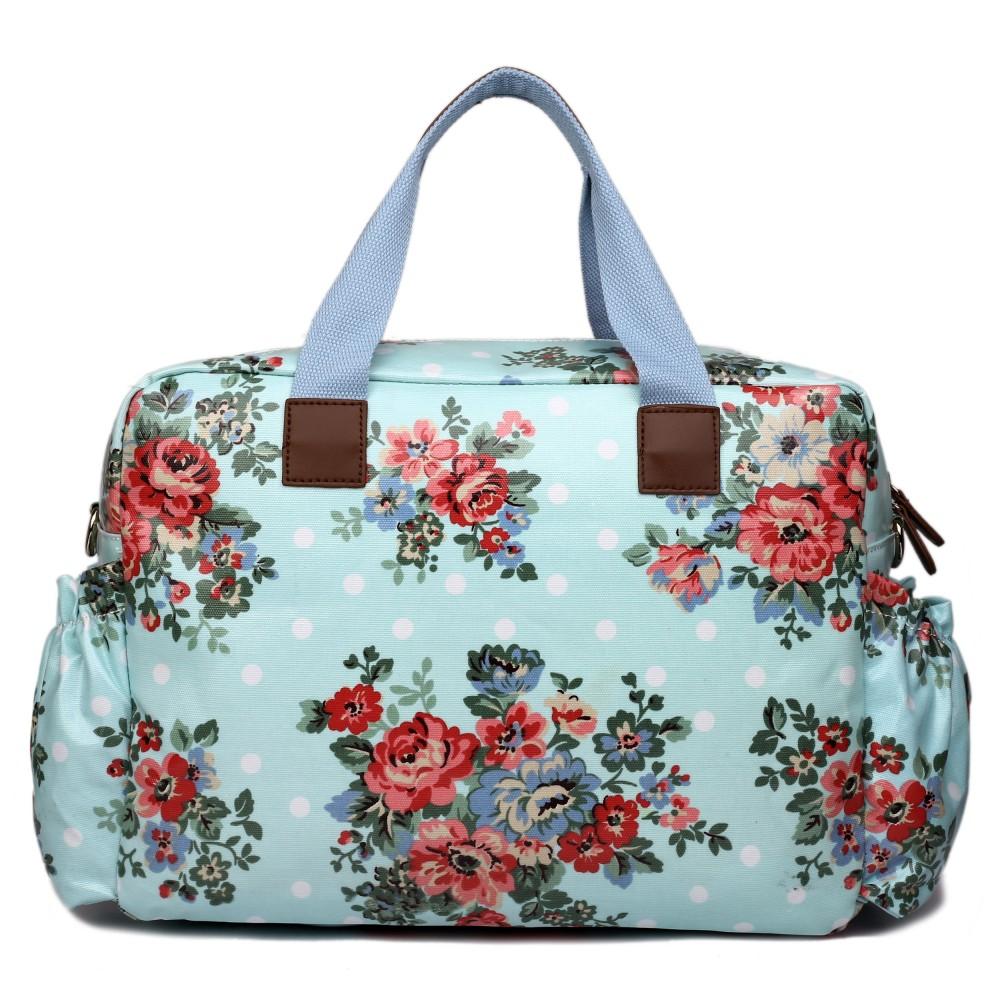 L1501F - Miss Lulu Maternity Baby Changing Bag Flower Polka Dot Light Blue