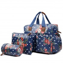 L1501F - Miss Lulu Maternity Baby Changing Bag Flower Polka Dot Navy