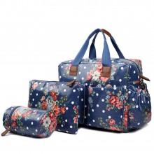 L1501F - Miss Lulu Maternity Baby Changing Bag Flower Polka Dot Navy